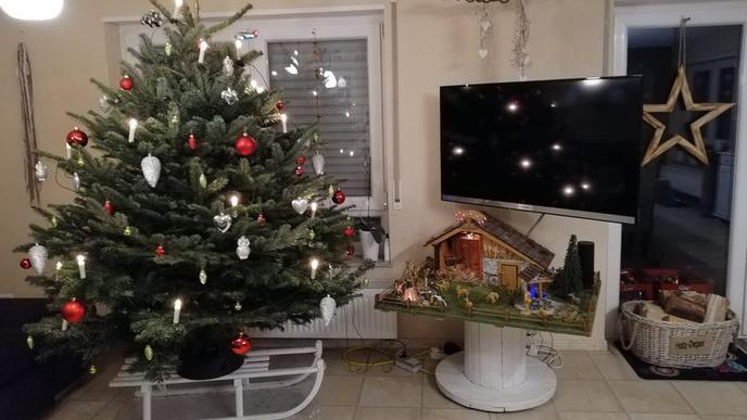 Vor einem festlich geschmückten Weihnachtsbaum steht ein weißer Schlitten. Rechts davon ist eine Weihnachtskrippe aufgebaut.