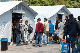 Flüchtlinge beziehen am 02.08.2015 in Neuenstadt am Kocher (Baden-Württemberg) ein temporäres Zeltlager. Die Flüchtlinge wurden in zwei Bussen von der überfüllten Erstaufnahmestelle in Ellwangen in das Lager, welches bis zu 200 Flüchtlingen Platz bietet, gebracht. Foto: Daniel Maurer/dpa ++ +++ dpa-Bildfunk +++