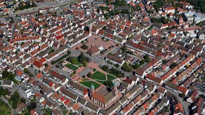 Luftbild des Marktplatzes in Freudenstadt