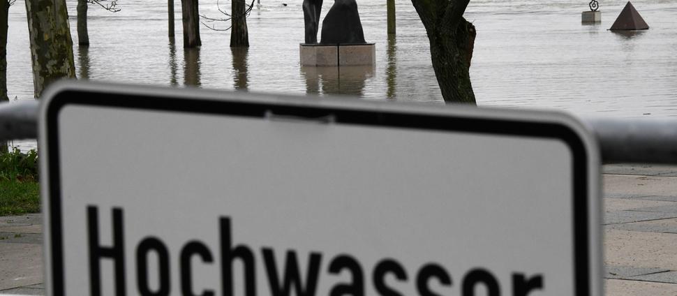 Eine Skulptur steht in Kehl auf dem ehemaligen Landesgartenschaugelände am Rhein im Hochwasser.