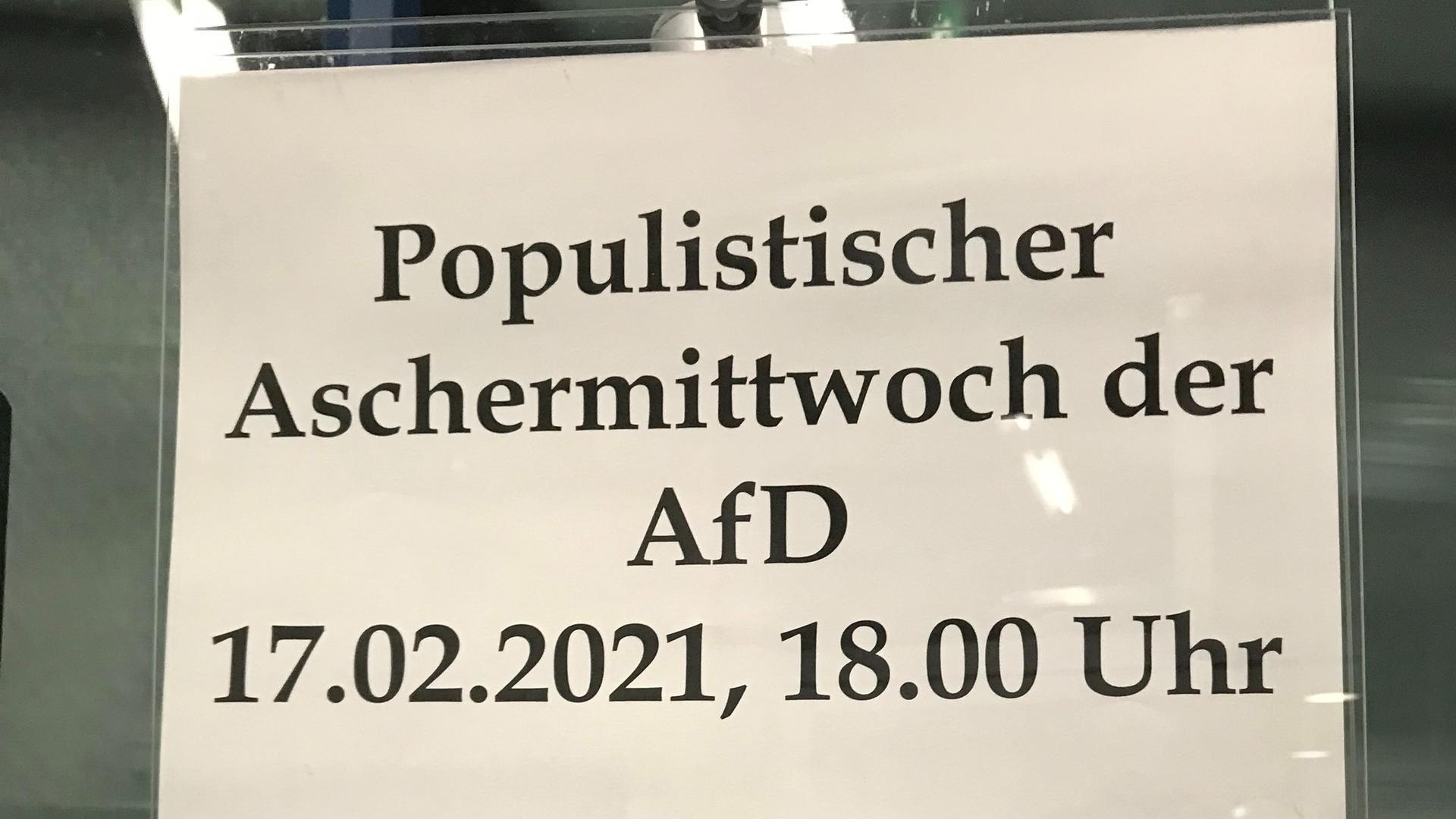 """Viele Parteien begingen den politischen Aschermittwoch, die AfD nannte ihre Veranstaltung """"populistischen Aschermittwoch""""."""