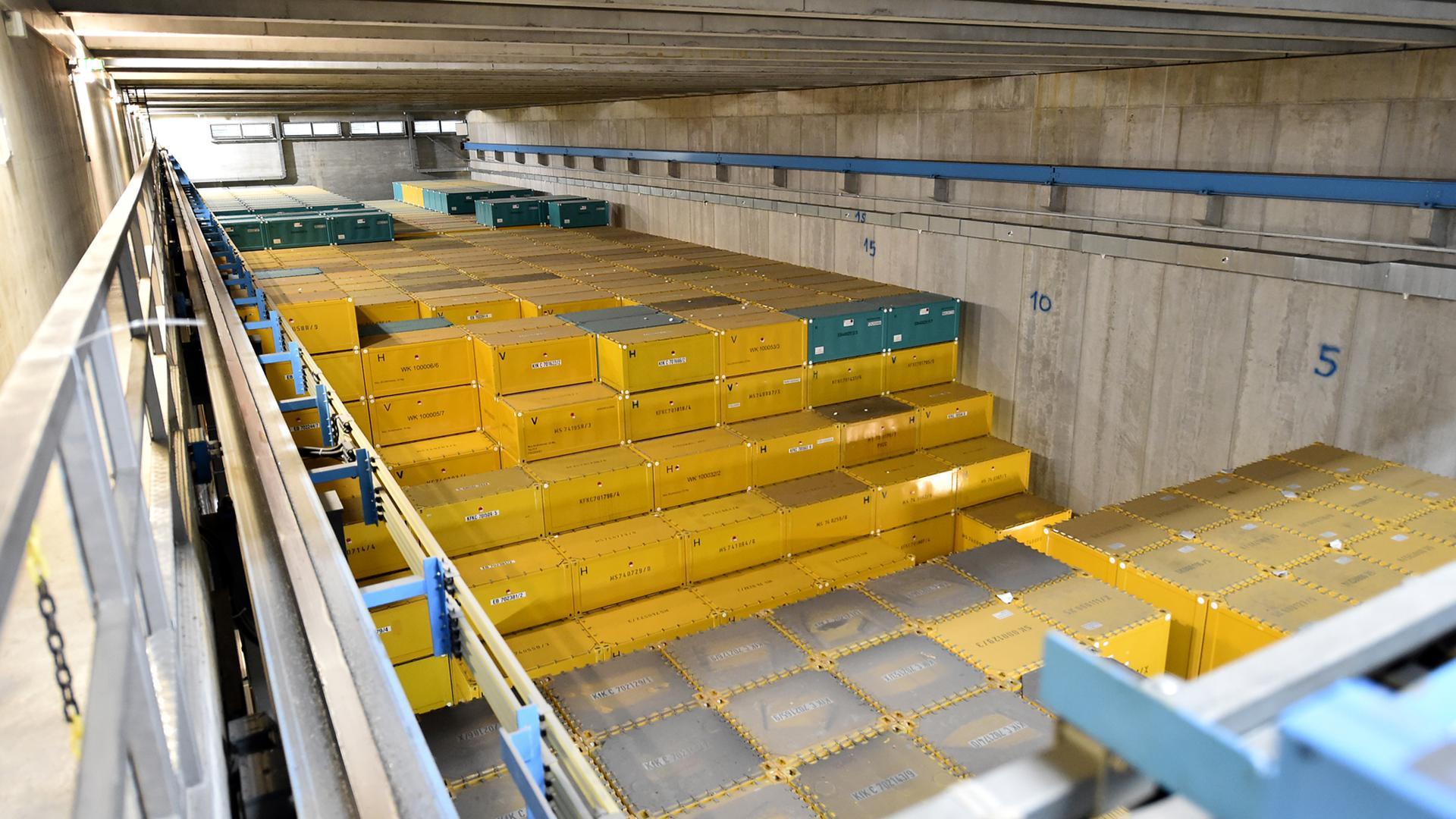 Das KTE-Zwischenlager für schwachradioaktive Abfälle in Eggenstein-Leopoldshafen ist weitgehend gefüllt.