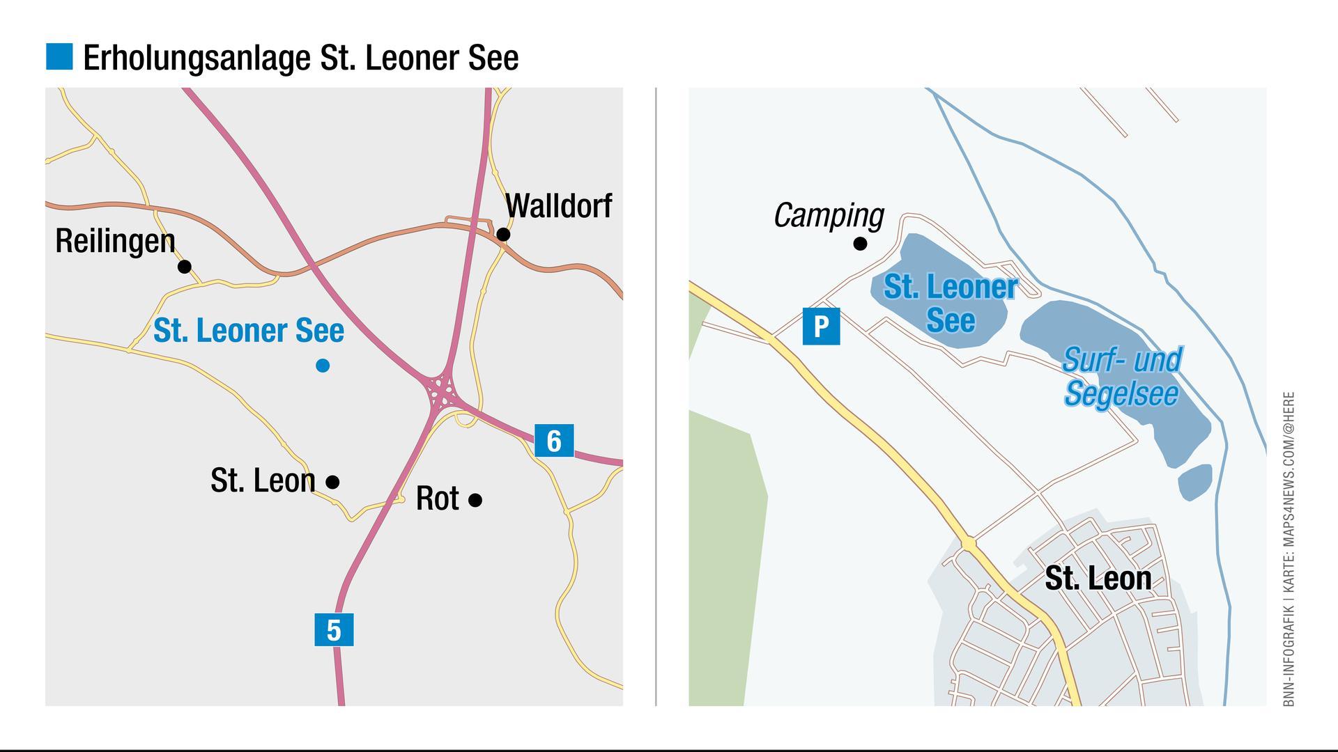 Eine Landkarte zeigt, wo sich der St. Leoner See befindet.