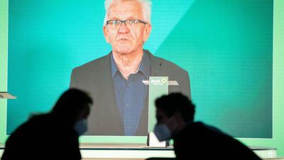 Winfried Kretschmann spricht digital bei der Bundesdelegiertenkonferenz seiner Partei.