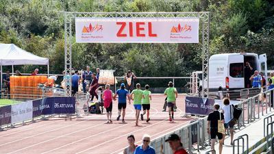 Zieleinlauf beim Baden-Marathon