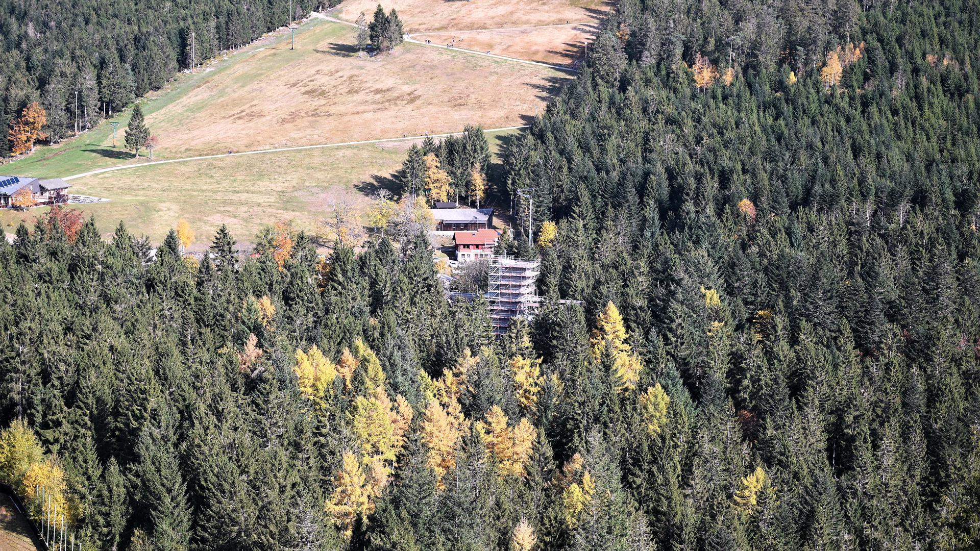Von der Sprungschanze aus ist nur der noch eingerüstete Aussichtsturm zu sehen.