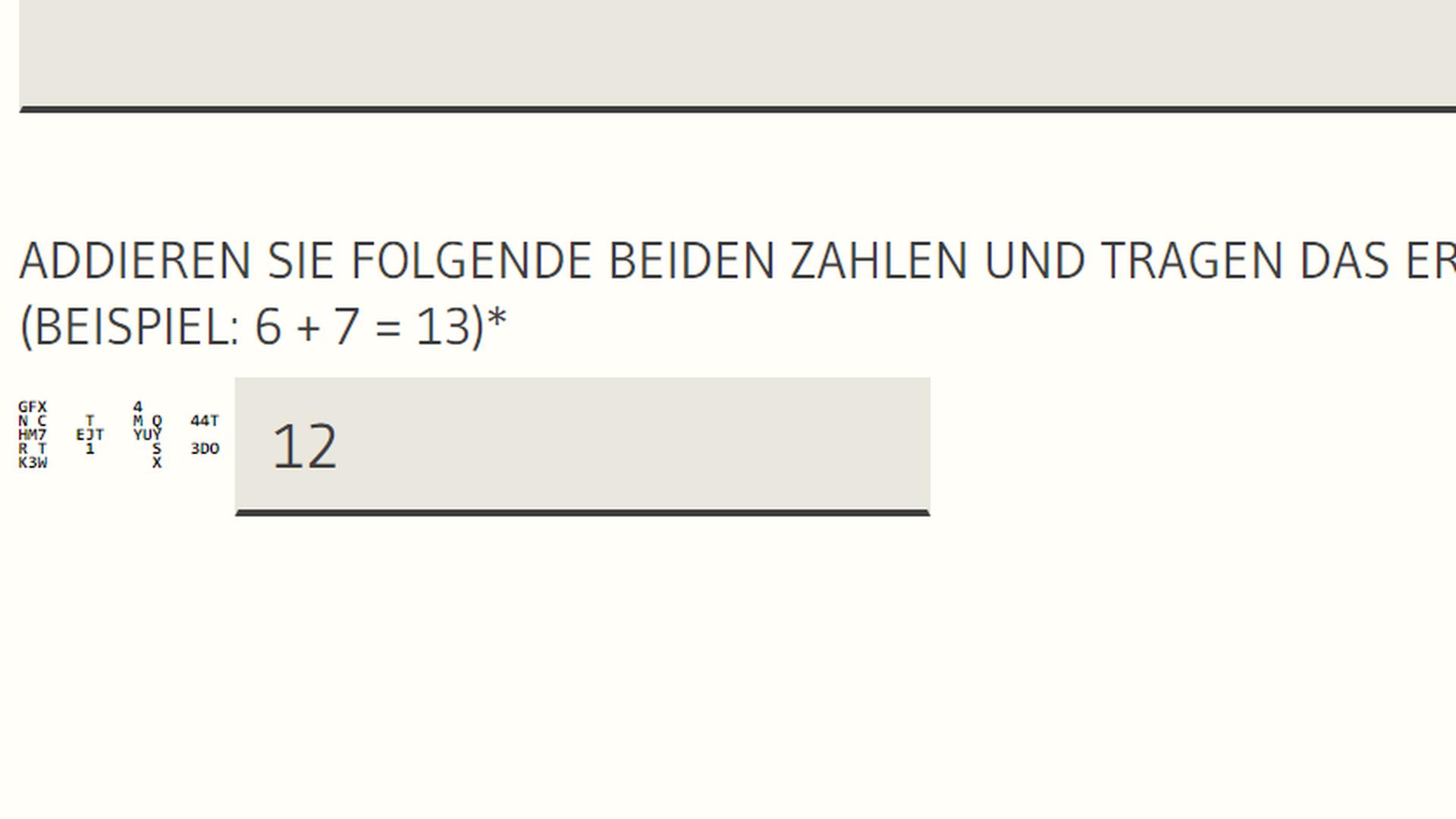 Vor dem Abschicken des Kontaktformulars müssen Nutzer bei den meisten baden-württembergischen Ministerien zwei schwer lesbare Zahlen addieren.