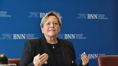Susanne Eisenmann Besuch in der BNN-Redaktion.