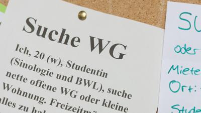 Studenten suchen an der Universität in Freiburg (Baden-Württemberg) mit Zetteln an einem Schwarzen Brett eine Wohnung.