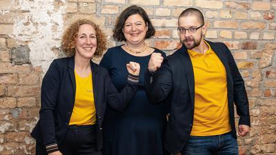 Das Führungsteam von evoach: Anke Paulick, Rebecca Rutschmann und Pawel Herman.