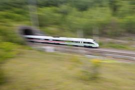 Ein ICE der Deutschen Bahn mit grünen Streifen.