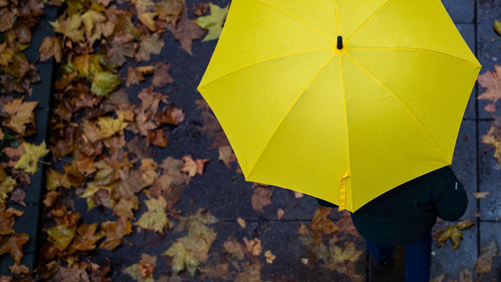Eine Person läuft mit einem Regenschirm auf einem Gehweg.