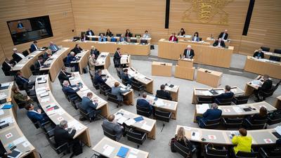 Blick in den Landtag von Baden-Württemberg.
