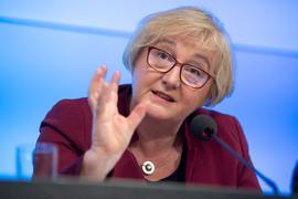 Theresia Bauer (Bündnis 90/Die Grünen), Ministerin für Wissenschaft, Forschung und Kunst von Baden-Württemberg, spricht.