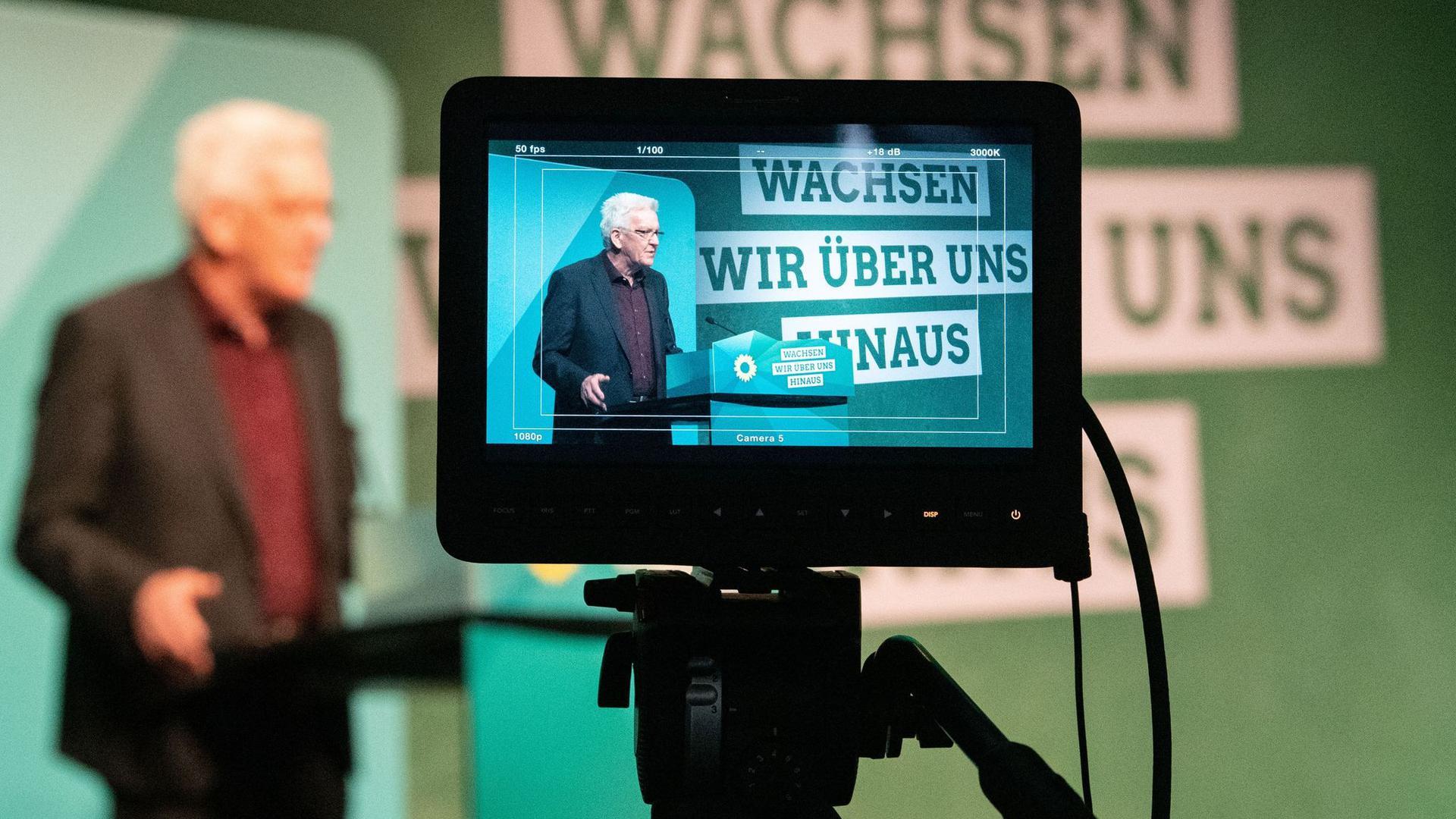Baden-Württembergs Ministerpräsident Winfried Kretschmann spricht bei der digitalen Landesdelegiertenkonferenz der Grünen.