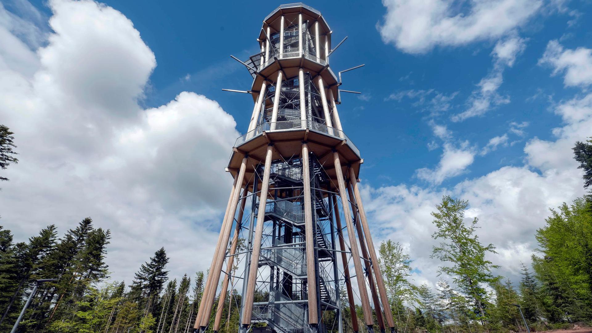 Der Aussichtsturm Himmelsglück ragt aus einem Waldstück im Nordschwarzwald.