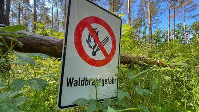 """""""Waldbrandgefahr"""" steht auf einemSchild."""