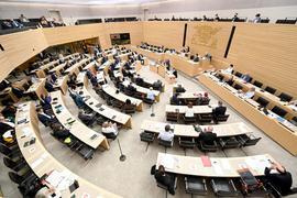 Abgeordnete während einer Plenarsitzung im Landtag.
