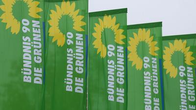 Fahnen der Partei Bündnis 90 Die Grünen wehen im Wind.