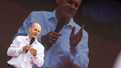 Olaf Scholz, Kanzlerkandidat der SPD und Bundesfinanzminister, nimmt an einem Wahlkampftermin teil.