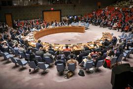 Mitglieder nehmen im August 2019 an einer Sitzung des Sicherheitsrates der Vereinten Nationen teil.