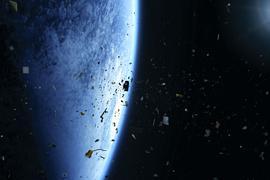 Die Bedrohung durch Kollisionen im All steigt täglich: Die Visualisierung der European Space Agency (ESA) zeigt den Weltraummüll früherer Weltraummissionen, der um die Erde kreist.