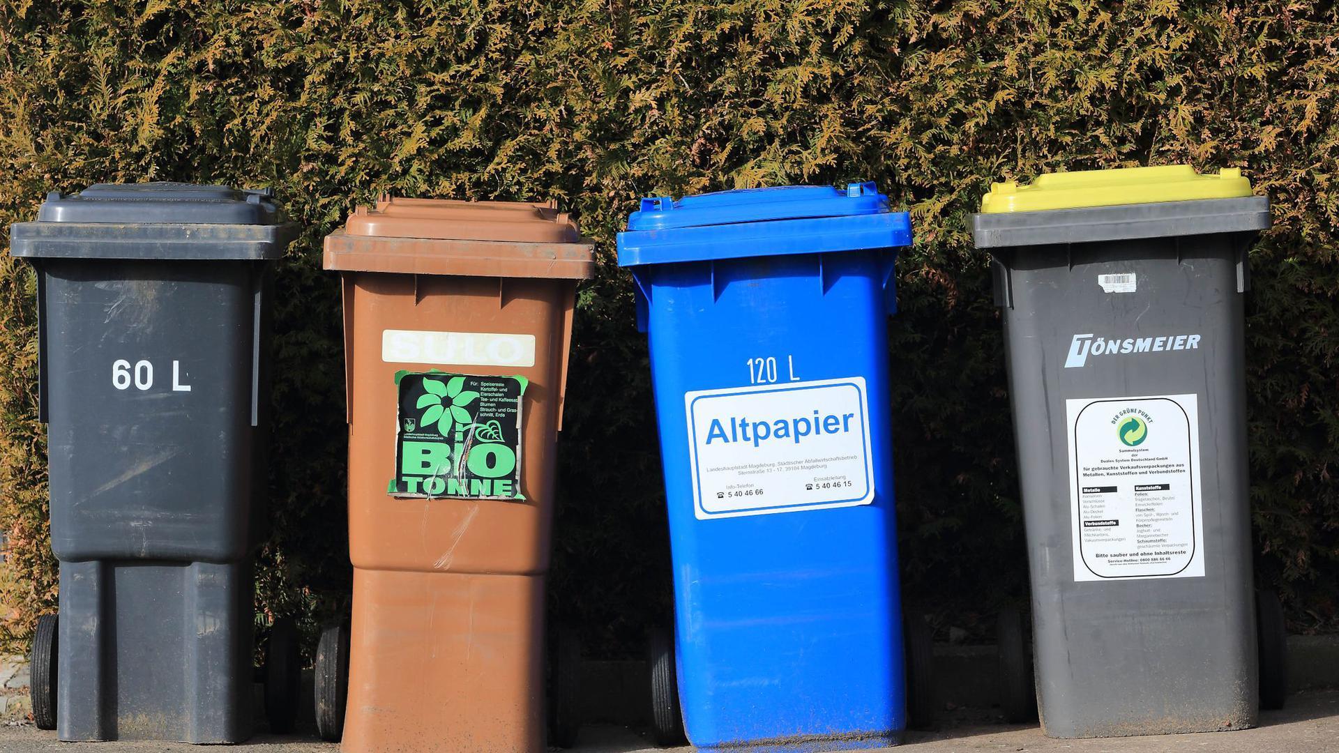"""""""Wir trennen gut, aber eben nicht sehr gut"""": Tonnen für Hausmüll, Bioabfälle, Altpapier und Wertstoffe."""