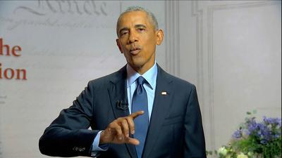 Ex-US-Präsident Barack Obama greift während des Parteitages der US-Demokraten Donald Trump an.