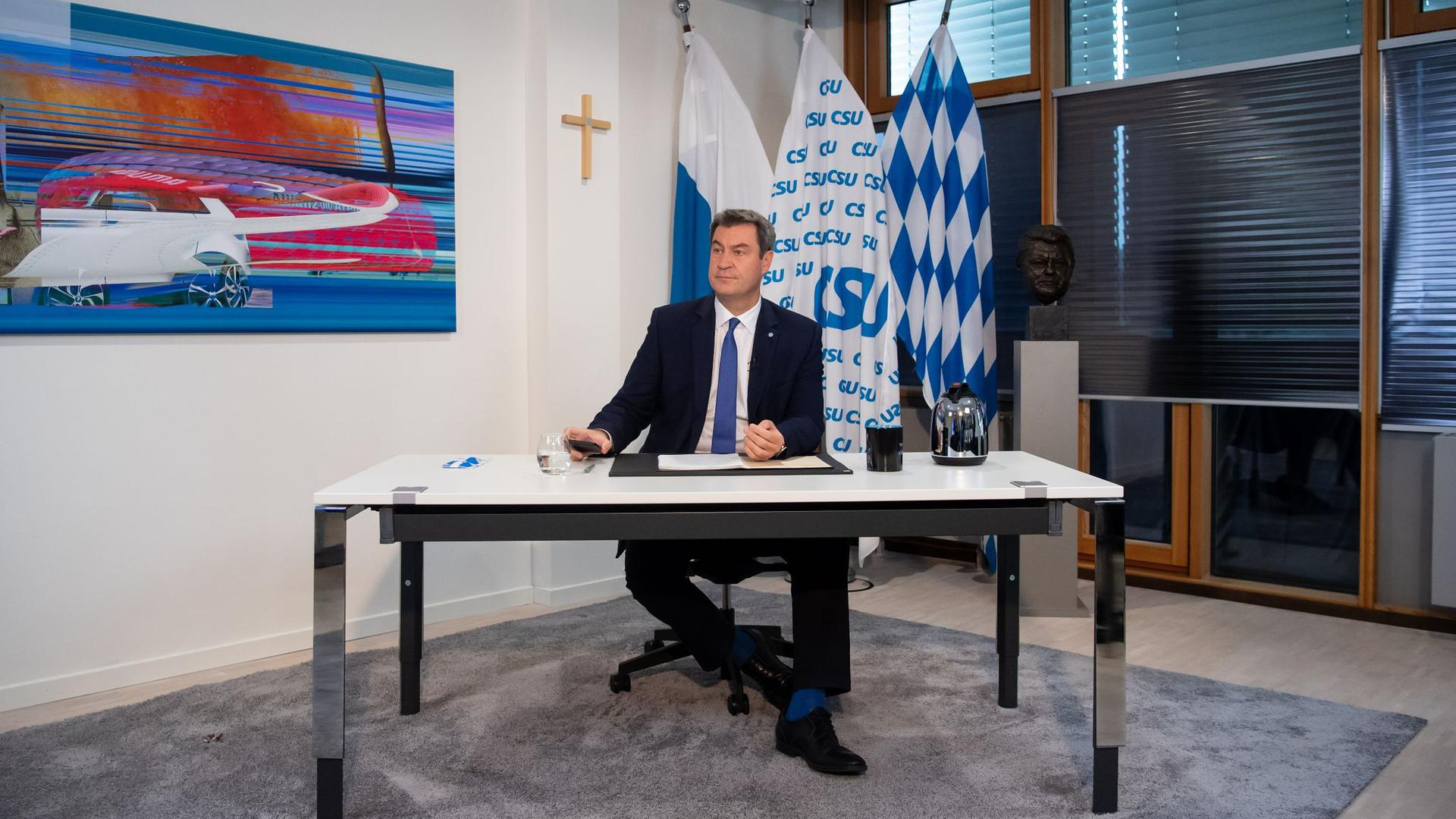 CSU-Chef Markus Söder während des digitalen Parteitags der CSU in München.