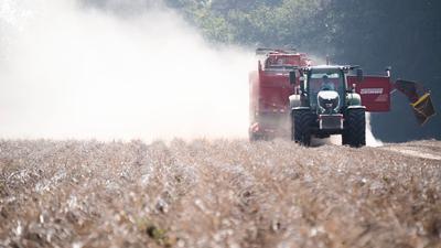 Ein Landwirt erntet auf einem staubtrockenen Feld bei Hannover Kartoffeln. Auch 2020 war die Trockenheit ein großes Problem für Landwirte.