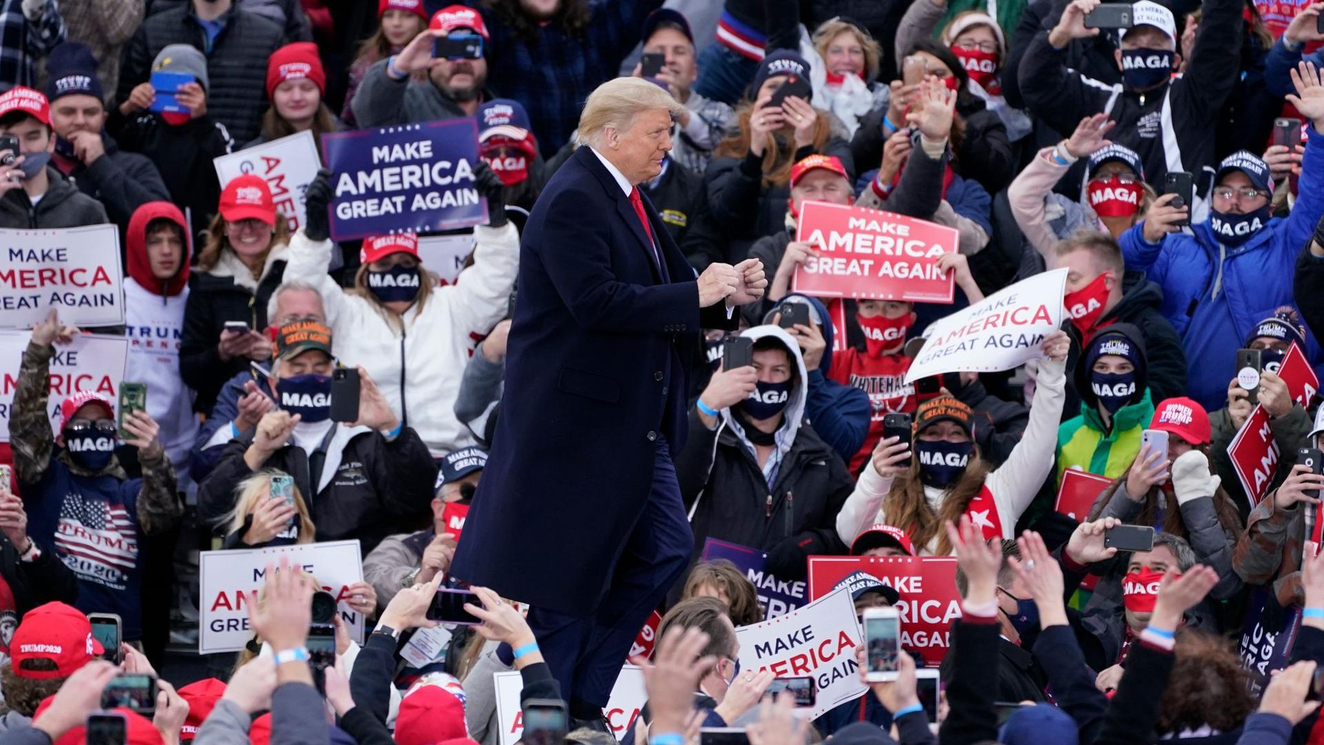 Donald Trump vor Anhängern in Muskegon County.