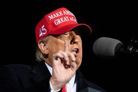 US-Präsident Donald Trump am Samstag  während einer Wahlkampfkundgebung im Bundesstaat Wisconsin.