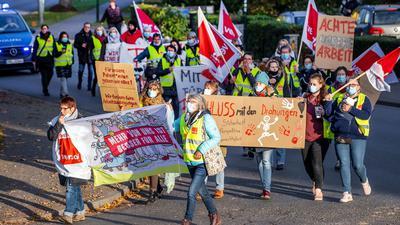 Streik im öffentlichenDienst - hier am Montagmorgen in Grevesmühlen in Mecklenburg-Vorpommern.