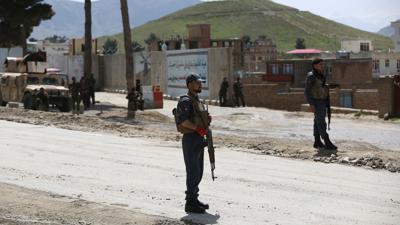 Afghanische Sicherheitskräfte am Stadtrand von Kabul.