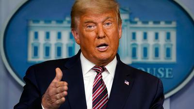 US-Präsident Trump spricht im Weißen Haus bei einer Pressekonferenz.