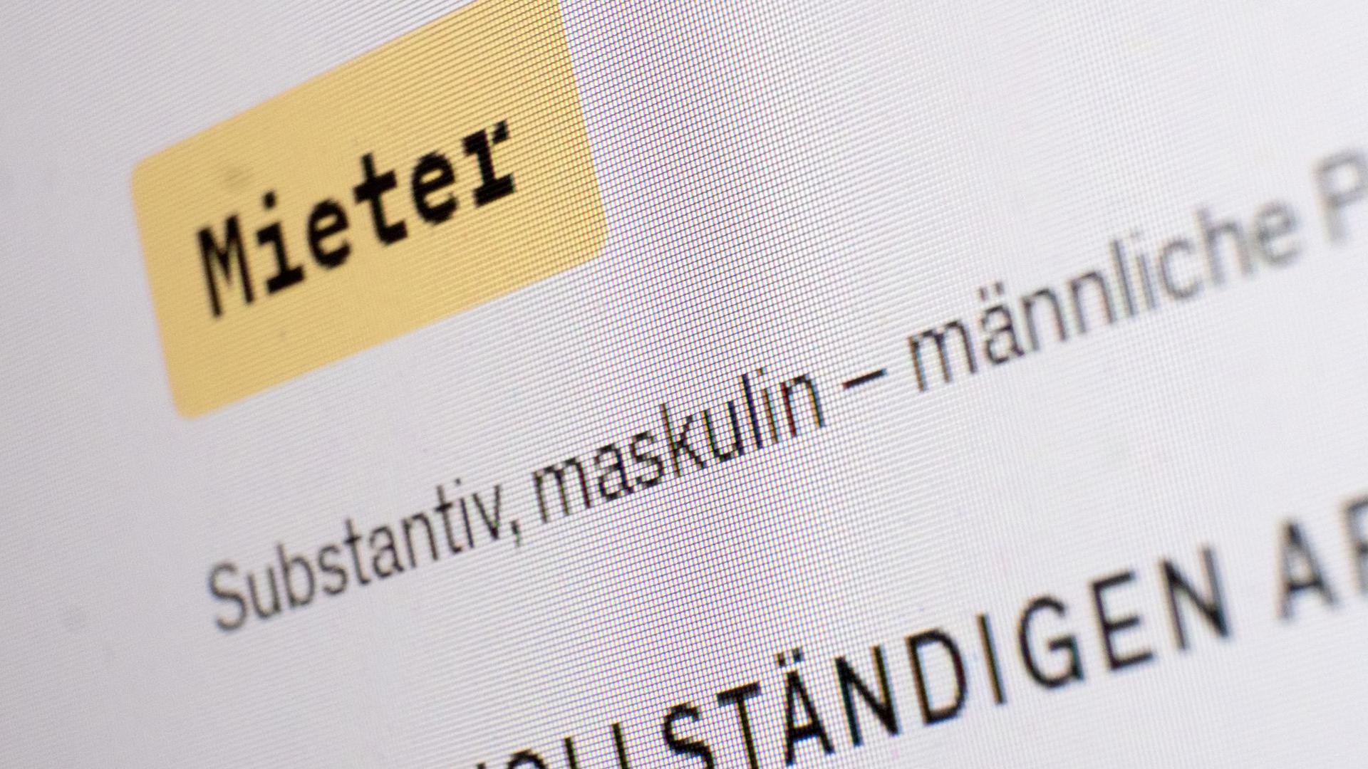 Das Wort maskulin steht in einem Eintrag des Online-Dudens und dem Wort Mieter.