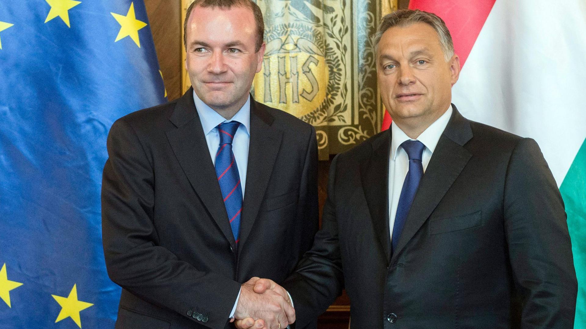 """Viktor Orban (r), Ministerpräsident von Ungarn, gibt Manfred Weber, Vorsitzender der Fraktion der Europäischen Volkspartei (EVP), bei ihrem Treffen im Parlamentsgebäude die Hand. (zu dpa """"Finale im Streit zwischen Manfred Weber und Viktor Orban"""")"""