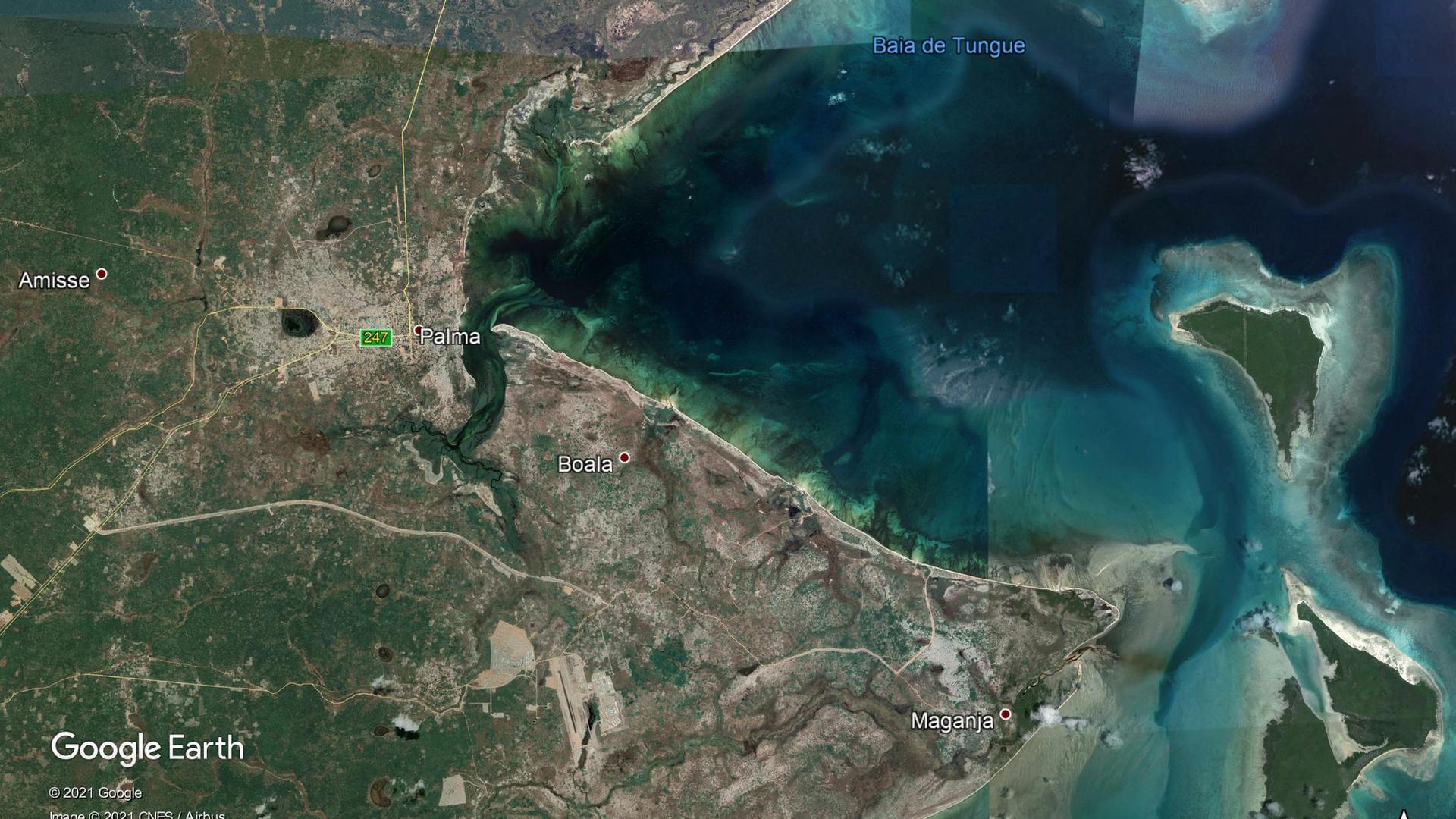 Die Aufnahme von Google Earth zeigt den Küstenort Palma in der Provinz Cabo Delgado in Mosambik.