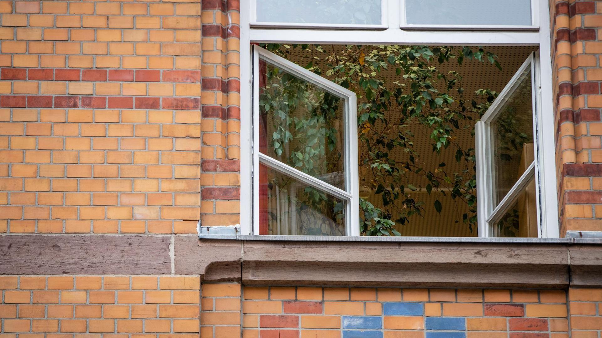 Ein Fenster an einer Grundschule ist zum Lüften geöffnet. Aerosolforscher empfehlen für geschlossene Räume häufiges Stoß- oder Querlüften.