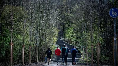 Eine Gruppe Jugendlicher beim Joggen in einem Wald.