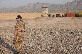 Ein Bundeswehrsoldat im nordafghanischen Masar-i-Scharif im Camp Marmal.