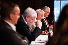 Boris Pistorius, Horst Seehofer, Thomas Strobl und Joachim Herrmann bei der Innenministerkonferenz.