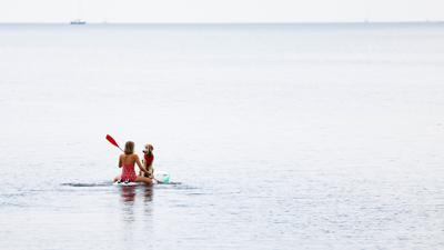 Eine Frau paddelt mit ihrem Hund auf einem Windsurfbrett auf der Ostsee vor der Insel Fehmarn.