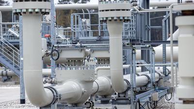 Rohrsysteme und Absperrvorrichtungen in der Gasanlandestation von Nord Stream 2 in Lubmin, Mecklenburg-Vorpommern.