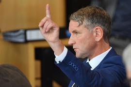 Björn Höcke, AfD-Fraktionschef, im Plenarsaal des Thüringer Landtags.