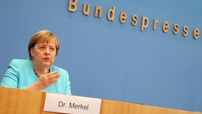 Bundeskanzlerin Angela Merkel (CDU) in der Bundespressekonferenz in Berlin.