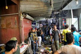 Der Ort des Selbstmordanschlags auf einem Markt in der Hauptstadt Bagdad.