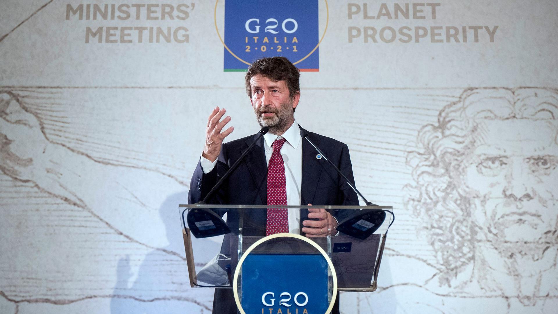 Italiens Kulturminister Dario Franceschini spricht während der Pressekonferenz zum Abschluss des G20-Kulturministertreffens.