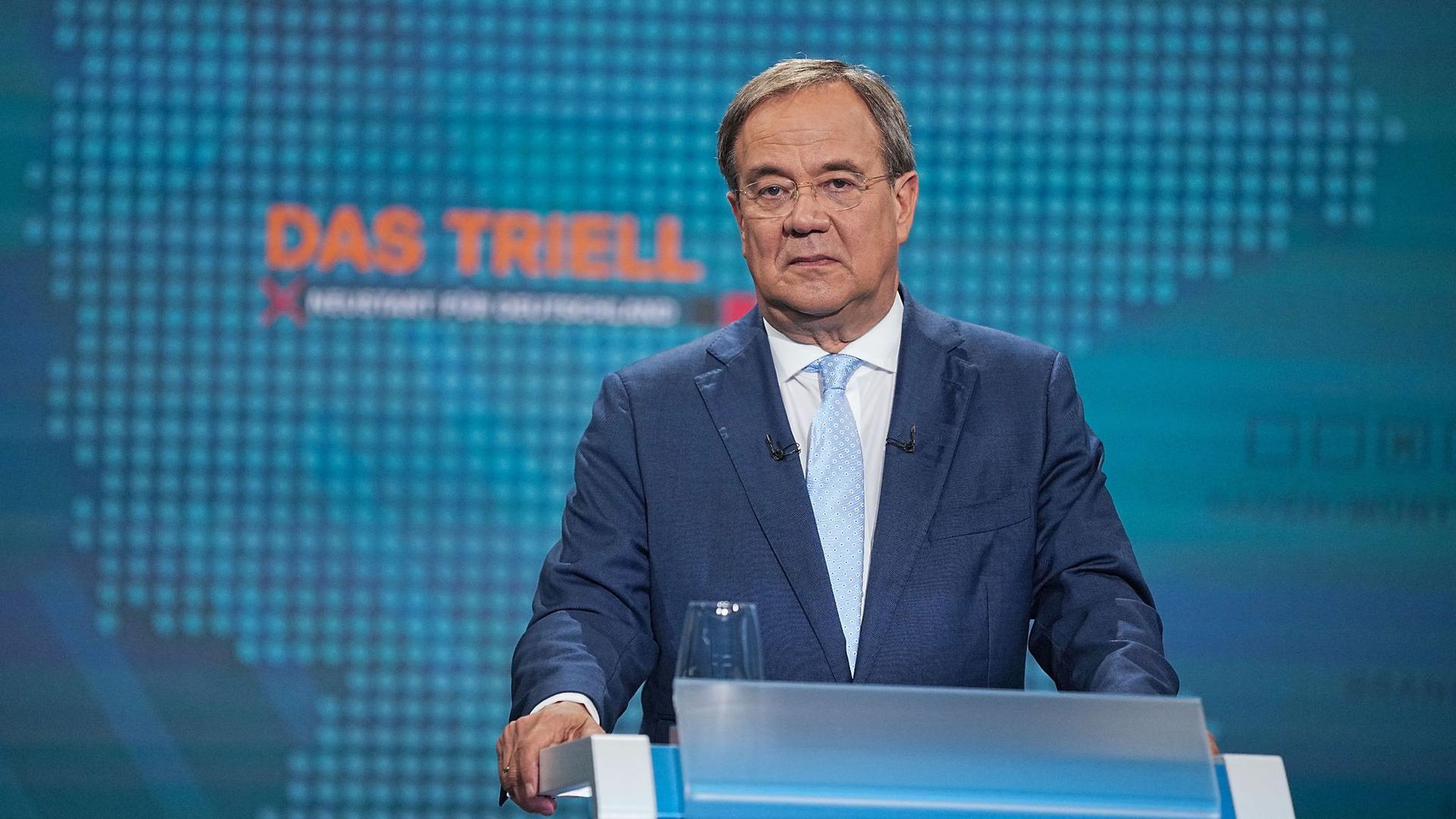 Unions-Kanzlerkandidat Armin Laschet (CDU) beim ersten TV-Triell.