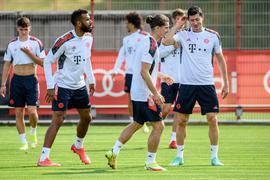 Abschlusstraining der Spieler des FC Bayern in München.